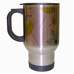 Floral Background Bird Drawing Travel Mug (silver Gray)