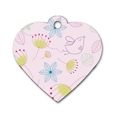 Floral Background Bird Drawing Dog Tag Heart (one Side)