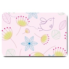 Floral Background Bird Drawing Large Doormat