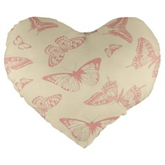 Butterfly Butterflies Vintage Large 19  Premium Flano Heart Shape Cushions