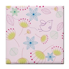 Floral Background Bird Drawing Face Towel