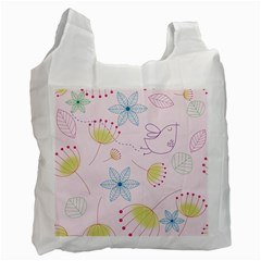 Floral Background Bird Drawing Recycle Bag (one Side)