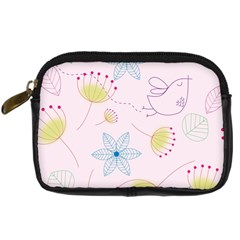 Floral Background Bird Drawing Digital Camera Cases