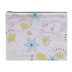 Floral Background Bird Drawing Cosmetic Bag (xl)