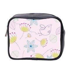 Floral Background Bird Drawing Mini Toiletries Bag 2 Side