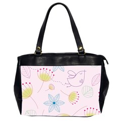 Floral Background Bird Drawing Office Handbags (2 Sides)