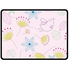 Floral Background Bird Drawing Fleece Blanket (large)