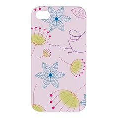 Floral Background Bird Drawing Apple Iphone 4/4s Hardshell Case