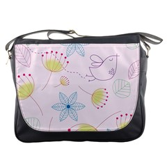 Floral Background Bird Drawing Messenger Bags