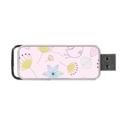 Floral Background Bird Drawing Portable Usb Flash (two Sides)