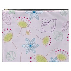 Floral Background Bird Drawing Cosmetic Bag (xxxl)