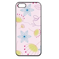 Floral Background Bird Drawing Apple Iphone 5 Seamless Case (black)