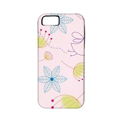 Floral Background Bird Drawing Apple Iphone 5 Classic Hardshell Case (pc+silicone)