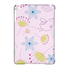 Floral Background Bird Drawing Apple Ipad Mini Hardshell Case (compatible With Smart Cover)