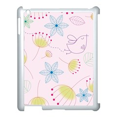 Floral Background Bird Drawing Apple Ipad 3/4 Case (white)