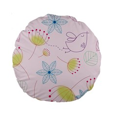 Floral Background Bird Drawing Standard 15  Premium Round Cushions