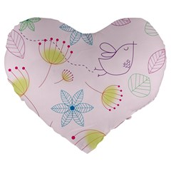 Floral Background Bird Drawing Large 19  Premium Heart Shape Cushions