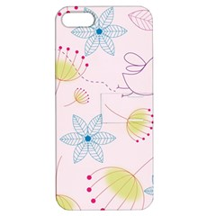 Floral Background Bird Drawing Apple Iphone 5 Hardshell Case With Stand