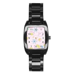 Floral Background Bird Drawing Stainless Steel Barrel Watch