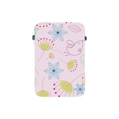 Floral Background Bird Drawing Apple Ipad Mini Protective Soft Cases