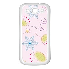 Floral Background Bird Drawing Samsung Galaxy S3 Back Case (white)