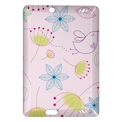 Floral Background Bird Drawing Amazon Kindle Fire Hd (2013) Hardshell Case