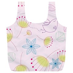 Floral Background Bird Drawing Full Print Recycle Bags (l)