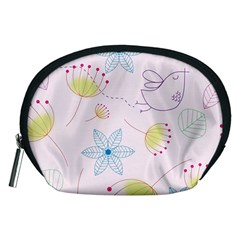 Floral Background Bird Drawing Accessory Pouches (medium)