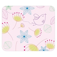 Floral Background Bird Drawing Double Sided Flano Blanket (small)