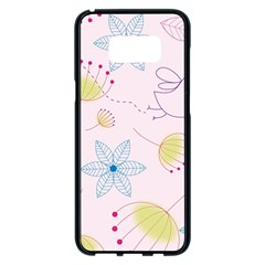 Floral Background Bird Drawing Samsung Galaxy S8 Plus Black Seamless Case