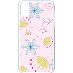 Floral Background Bird Drawing Apple Iphone X Seamless Case (white)