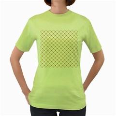 Hearts Pattern Love Design Women s Green T Shirt