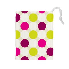 Polka Dots Spots Pattern Seamless Drawstring Pouches (large)