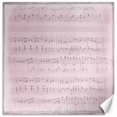 Vintage Pink Music Notes Canvas 20  X 20