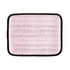 Vintage Pink Music Notes Netbook Case (small)
