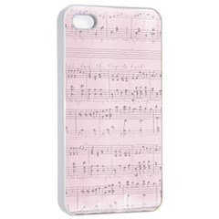 Vintage Pink Music Notes Apple Iphone 4/4s Seamless Case (white)