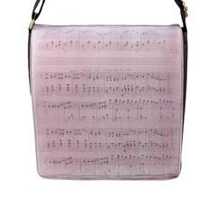 Vintage Pink Music Notes Flap Messenger Bag (l)