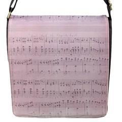 Vintage Pink Music Notes Flap Messenger Bag (s)