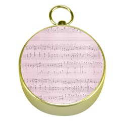 Vintage Pink Music Notes Gold Compasses