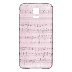 Vintage Pink Music Notes Samsung Galaxy S5 Back Case (white)