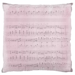 Vintage Pink Music Notes Large Flano Cushion Case (one Side)