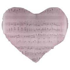 Vintage Pink Music Notes Large 19  Premium Flano Heart Shape Cushions