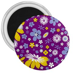 Floral Flowers Wallpaper Paper 3  Magnets