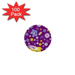 Floral Flowers Wallpaper Paper 1  Mini Buttons (100 Pack)
