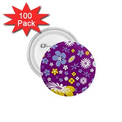 Floral Flowers Wallpaper Paper 1 75  Buttons (100 Pack)