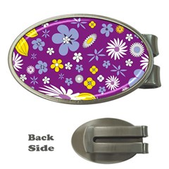 Floral Flowers Wallpaper Paper Money Clips (oval)