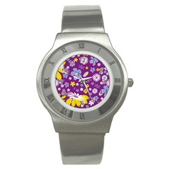 Floral Flowers Wallpaper Paper Stainless Steel Watch