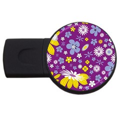 Floral Flowers Wallpaper Paper Usb Flash Drive Round (4 Gb)