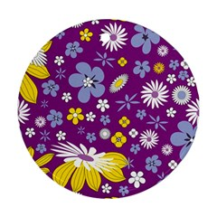 Floral Flowers Wallpaper Paper Round Ornament (two Sides)