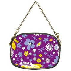 Floral Flowers Wallpaper Paper Chain Purses (one Side)